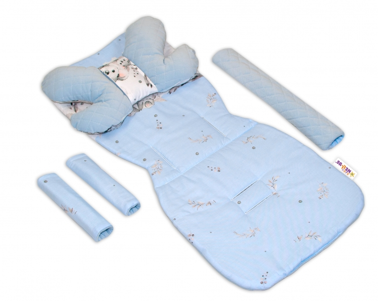 Oboustranný 5-ti dílný komplet do kočárku Velvet, Baby Nellys - Medvídek Koala, modrý