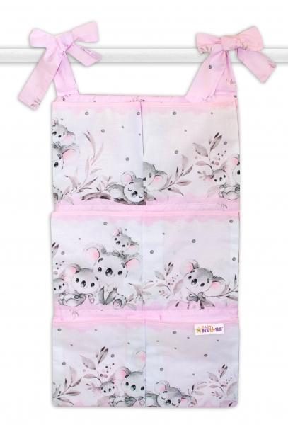 Bavlněný kapsář na postýlku Baby Nellys 6 kapes, Medvídek Koala - růžový