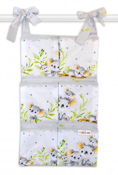 Bavlněný kapsář na postýlku Baby Nellys 6 kapes, Medvídek Koala - šedý