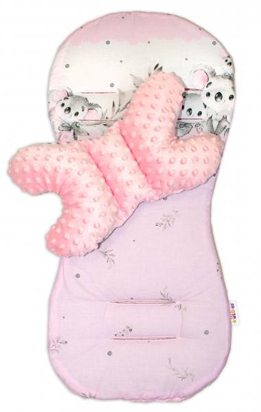 Sada do kočárku Baby Nellys minky, podložka + polštářek - Medvídek Koala, růžová