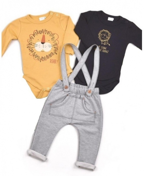 K-Baby Sada 2 x body dl. rukáv + 1 x tepláčky, Lvíček, hořčicová/černá/šedá, vel. 74