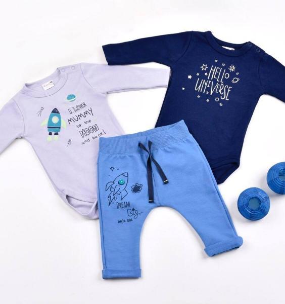 K-Baby Sada 2 x body dl. rukáv + 1 x tepláčky, Vesmír, granát/šedá/modrá, vel. 86