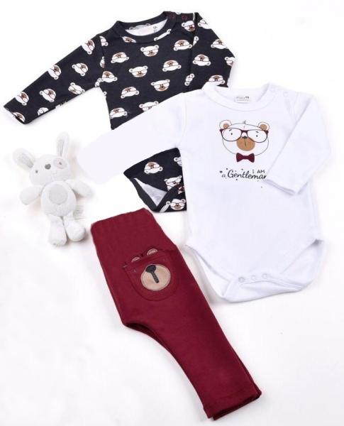 K-Baby Sada 2 x body dl. rukáv + 1 x tepláčky, Elegant, bílá/šedá/vínová, vel. 80vel. 80 (9-12m)