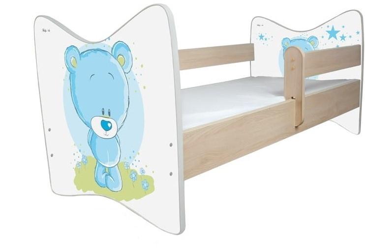 BabyBoo Dětská postýlka LUX Medvídek STYDLÍN modrý 140x70 cm.  D19