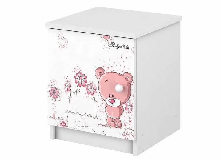BabyBoo Noční stolek - Medvídek STYDLÍN růžový, D19