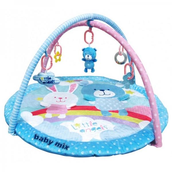 BABY MIX Vzdělávací hrací deka - Medvídek a zajíček