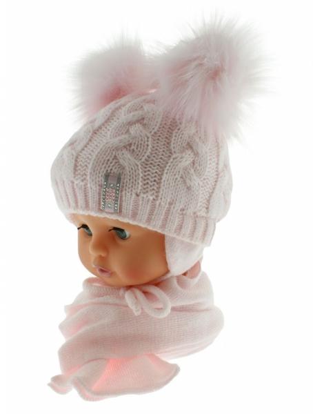 BABY NELLYS Zimní čepička s šálou - chlupáčkové bambulky - sv. růžová/sv. růžové