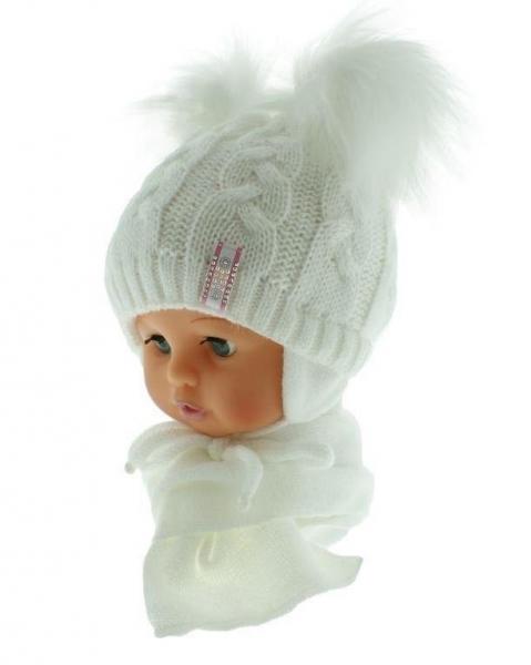 BABY NELLYS Zimní čepička s šálou - chlupáčkové bambulky - bílá/bílé