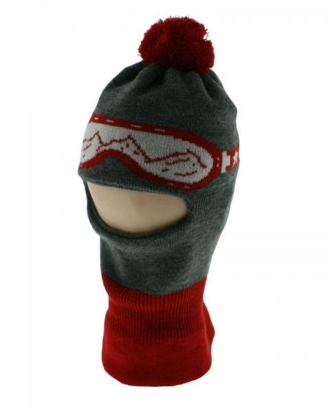 BABY NELLYS Zimní čepička/kukla s bambuli - červená s brýlemi