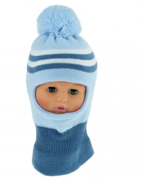 BABY NELLYS Zimní čepička/kukla s bambuli - sv. modrá s proužky