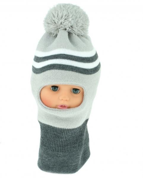BABY NELLYS Zimní čepička/kukla s bambuli - sv. sv. šedá s proužky