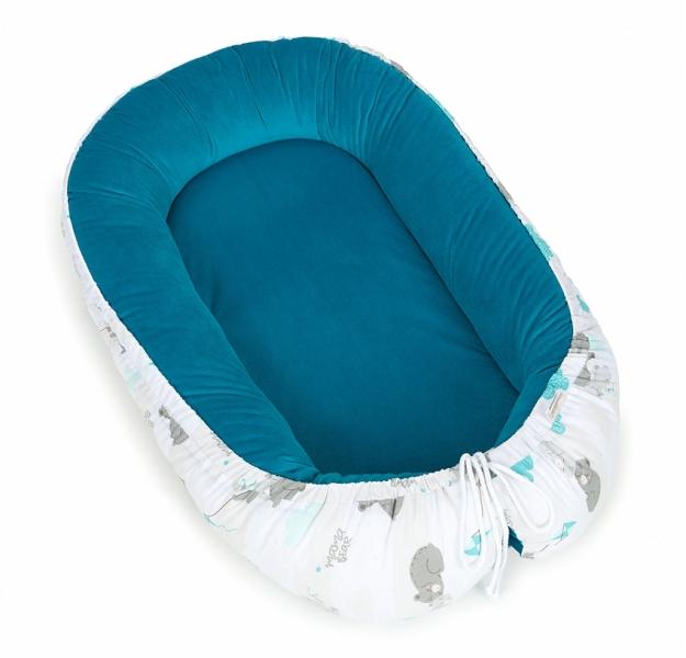 Mamo Tato Oboustranné hnízdečko - kokon pro miminko Velvet  - Medvídcí v modré