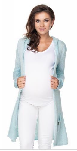Be MaaMaa Dlouhý těhotenský kardigan s kapucí, sv. modrý