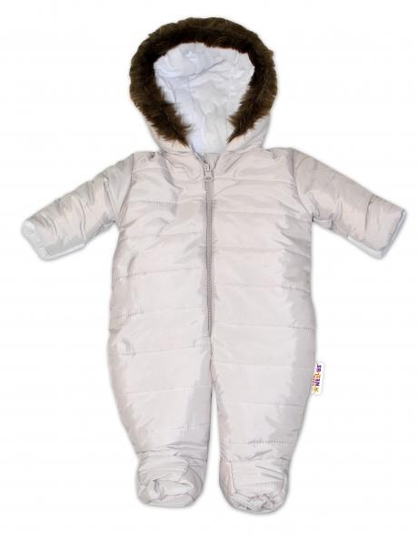 Kombinéza s kapucí a kožíškem Baby Nellys ®prošívaná - sv. šedá