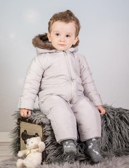 Kombinéza s kapucí a kožíškem Baby Nellys ®prošívaná, bez šlapek - sv. šedá