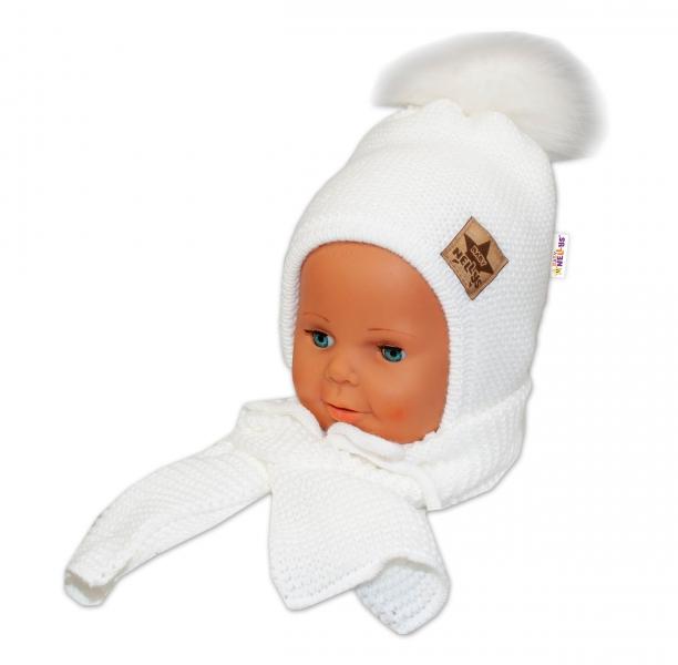 BABY NELLYS Zimní čepička s šálou - chlupáčková bambulka - bílá/bílá, Velikost: 12/24měsíců