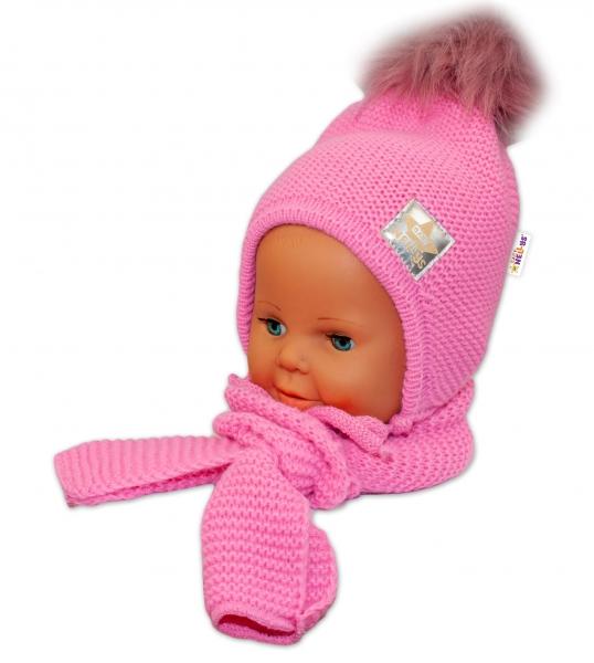 BABY NELLYS Zimní čepička s šálou - chlupáčková bambulka - tm. růžová/tm. růžová