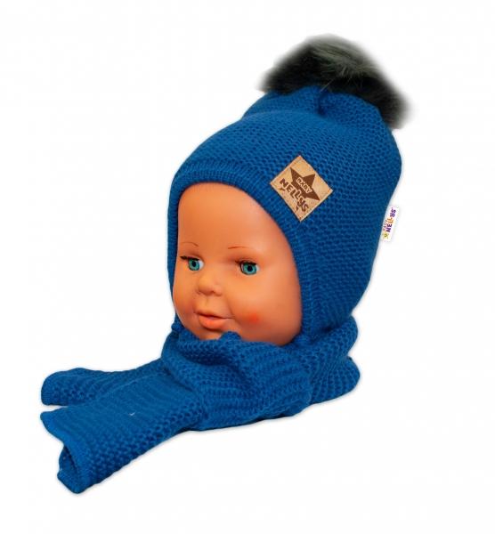 BABY NELLYS Zimní čepička s šálou - chlupáčková bambulka - granátová/tm. šedá