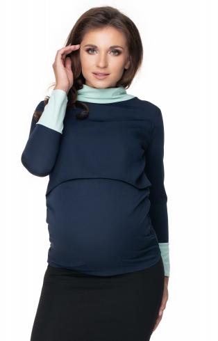 Be MaaMaa Těhotenské a kojící tričko - granátovo/mátové, vel. L/XL