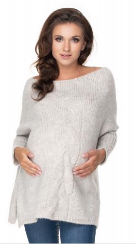 Be MaaMaa Volný těhotenský svetr světle šedý - vzor pletený cop