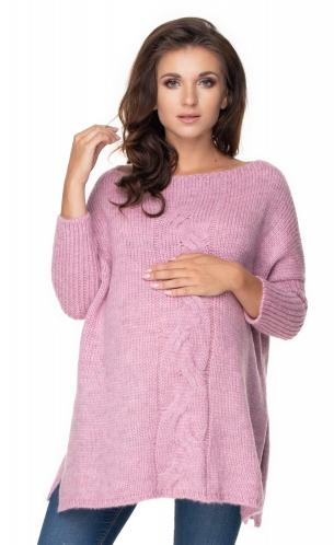 Be MaaMaa Volný těhotenský svetr lila - vzor pletený cop