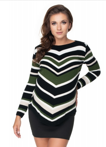 Be MaaMaa Delší těhotenský svetr khaki- šikmý vzor