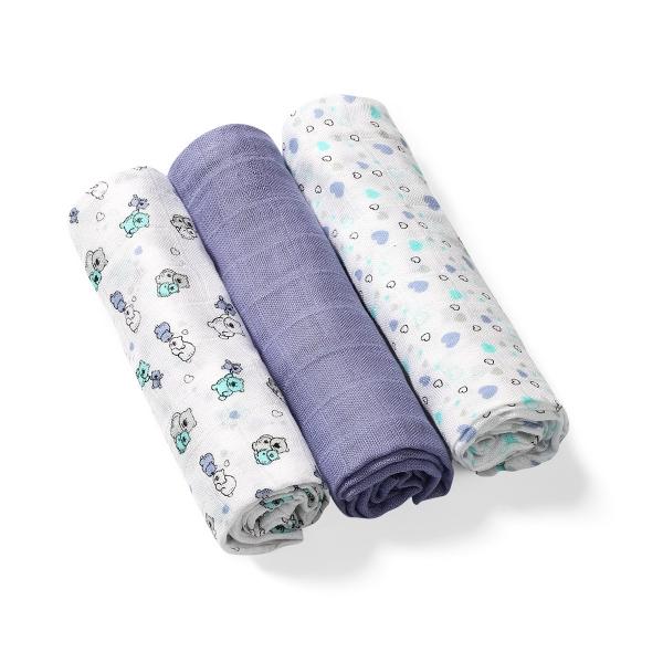 BabyOno Bambusové dětské plenky 3 ks - modro/šedá