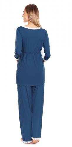 Be MaaMaa Těhotenské, kojící pyžamo s krajkovým lemováním - modré