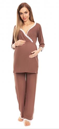 Be MaaMaa Těhotenské, kojící pyžamo s krajkovým lemováním - cappucino, vel. L/XL