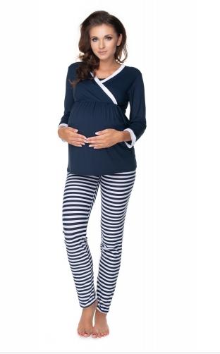 Be MaaMaa Těhotenské, kojící pyžamo dl. rukáv - granátovo/bílé proužky, vel. L/XL
