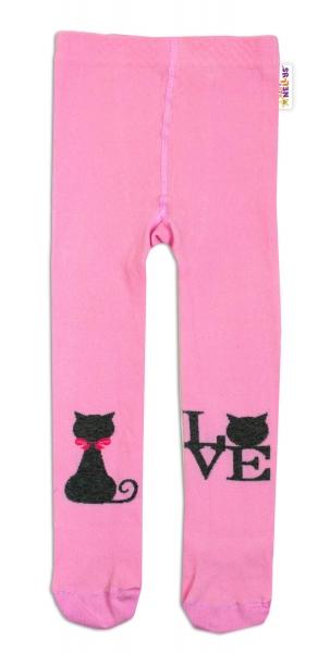 Baby Nellys Bavlněné punčocháče I Love Cat - růžové, vel. 92/98