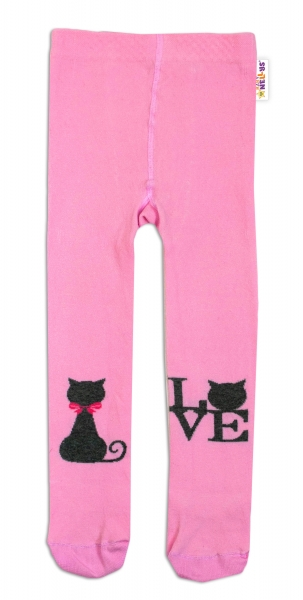 Baby Nellys Bavlněné punčocháče I Love Cat - růžové, vel. 104/110vel. 104/110