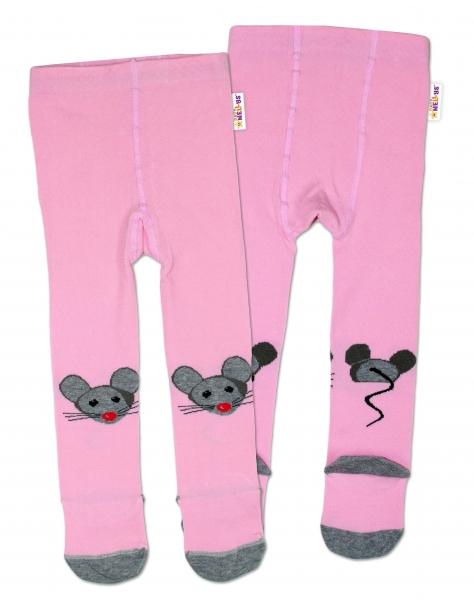 Baby Nellys Bavlněné punčocháče Myšička - růžové