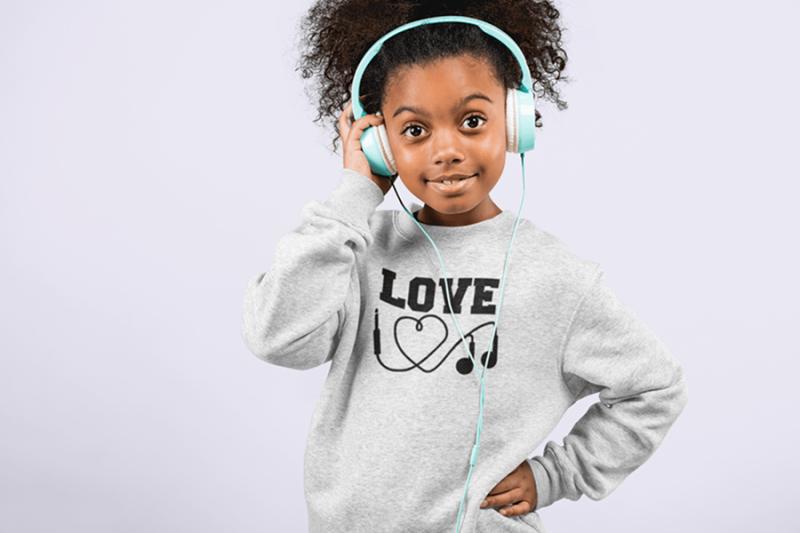 KIDSBEE Stylová dětská dívčí mikina Love Music - sv. šedá