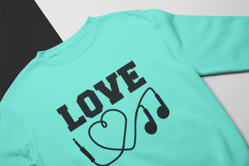 KIDSBEE Stylová dětská dívčí mikina Love Music - mátová