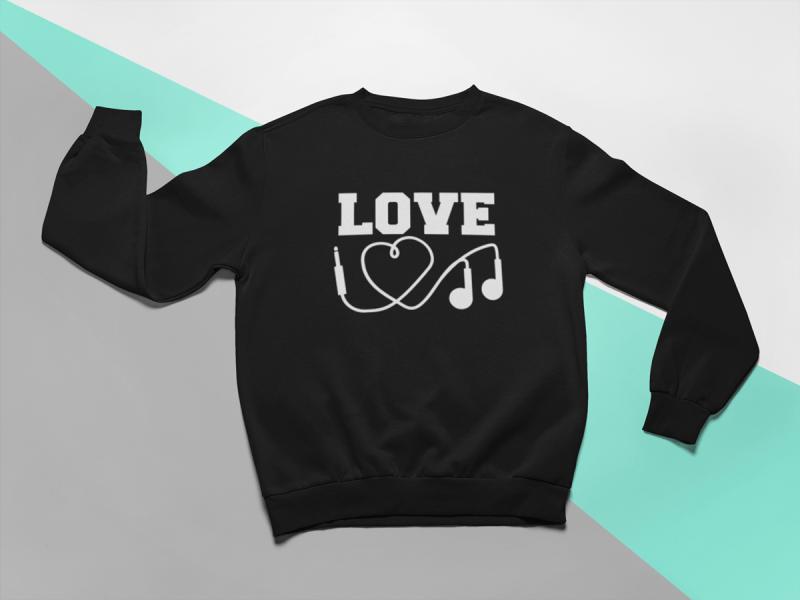 KIDSBEE Stylová dětská dívčí mikina Love Music - černá, vel. 134