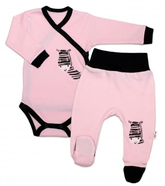 Baby Nellys 2-dílná sada body dl. rukáv + polodupačky, růžová - Zebra, vel. 74