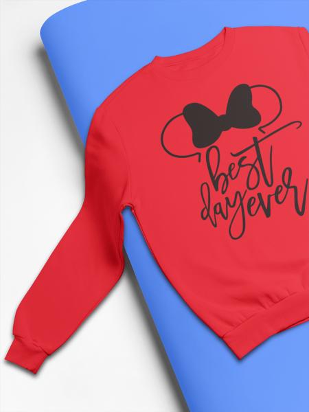 KIDSBEE Stylová dětská dívčí mikina Best day ever - červená, vel. 104