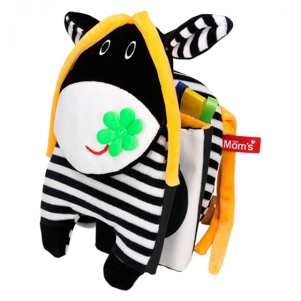 Hencz Toys Textilní knížka šustík - kravička, černo/bílá