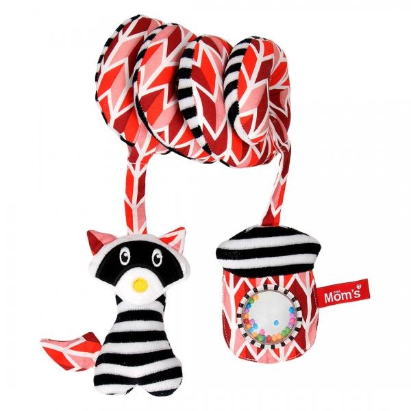 Hencz Toys Edukační hračka Hencz s chrastítkem a zrcátkem, ShopHop - spirálka - červená