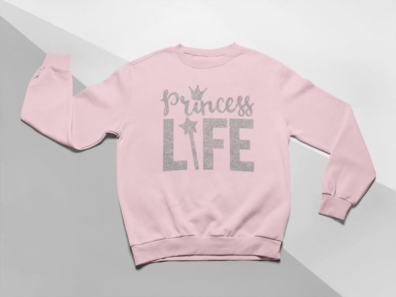 KIDSBEE Moderní dětská dívčí mikina Princess Life - růžová, vel. 104