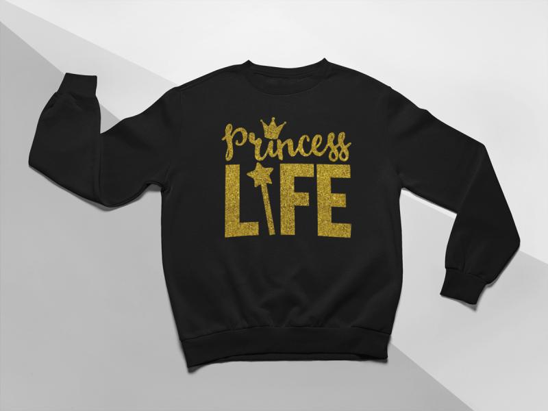 KIDSBEE Moderní dětská dívčí mikina Princess Life -  černá, vel. 110vel. 110