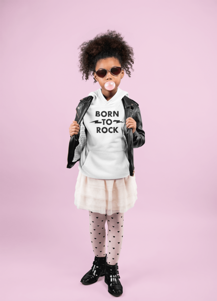 KIDSBEE Krásná dětská dívčí mikina s kapucí Born to Rock - bílá, vel. 110