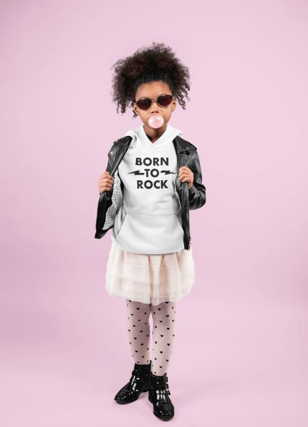 KIDSBEE Krásná dětská dívčí mikina s kapucí Born to Rock - bílá, vel. 140