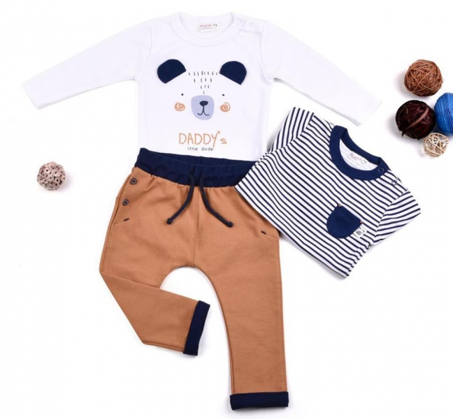 K-Baby Sada 2 x body dl. rukáv + 1 x tepláčky, Medvídek, bílá/proužek/hnědá, vel. 68