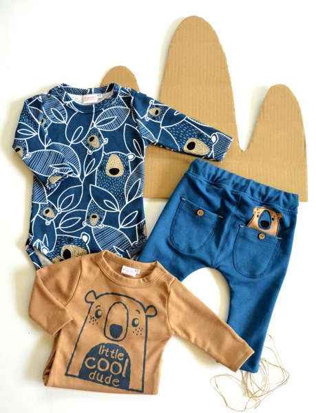 K-Baby Sada 2 x body dl. rukáv + 1 x tepláčky, Koala, hnědá/granát/jeans, vel. 74