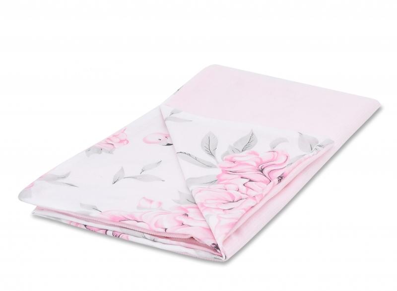 Baby Nellys Luxusní dečka Velvet, 100 x 75 cm - Plameňák růžový