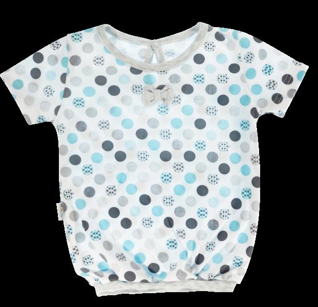 Bavlněná halenka Mamatti Bubble Boo - krátký rukáv - šedá/tyrkys
