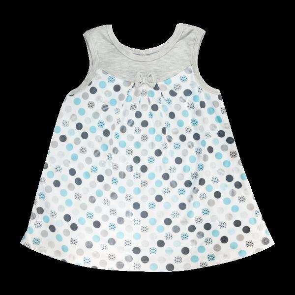 Bavlněné šatičky Mamatti na ramínka Bubble Boo - šedé/tyrkys, vel. 104vel. 104