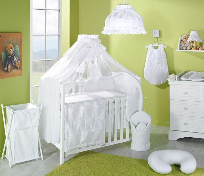Luxusní mega set komplet s moskytiérou - Srdíčko bílé